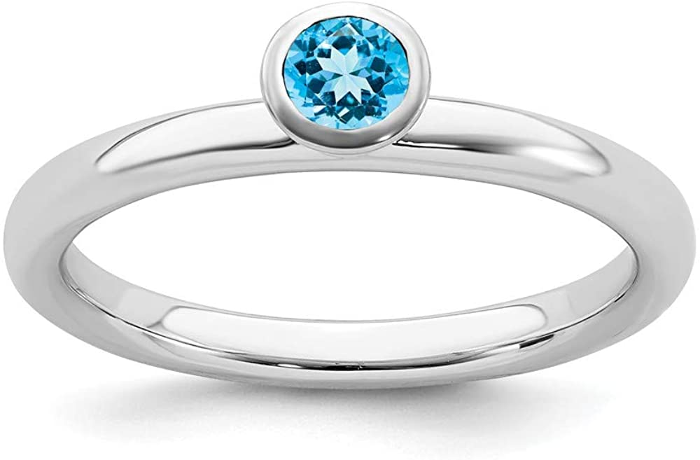 Solid 925 Sterling Silver Stackable 4mm Round Blue Topaz Ring Eternity Band