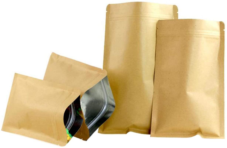 50PCS(5.5Mil) Brown Kraft Paper Hermetic Flat Base Bag Zipper Pouches Coffee Tea Powder Packing Holder Organizer Aluminum Foil Bag for Candy Snack Nut Dry Food(20cm x 30cm)