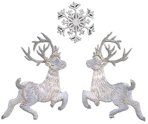IQQI Christmas Elk and Snowflake DIY Embroidery Patches, Children's Applique Cloth Appliques, Bag Clothes Decoration