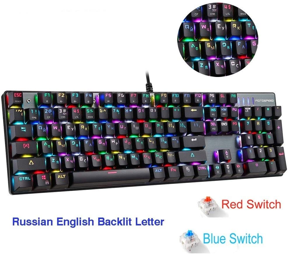 SDCM Motospeed CK104 Gaming Mechanical Keyboard Russian English Red Switch Blue Metal Wired LED Backlit RGB Anti-Ghosting for Gamer (Axis Body : Red Switch, Color : CK104 English pad)