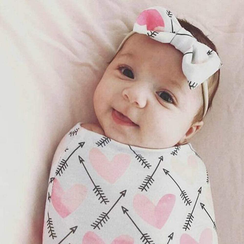 Newborn Receiving Blanket Headband Set, Baby Swaddle Wrap, Newborn Photography Props, Baby Shower Gift