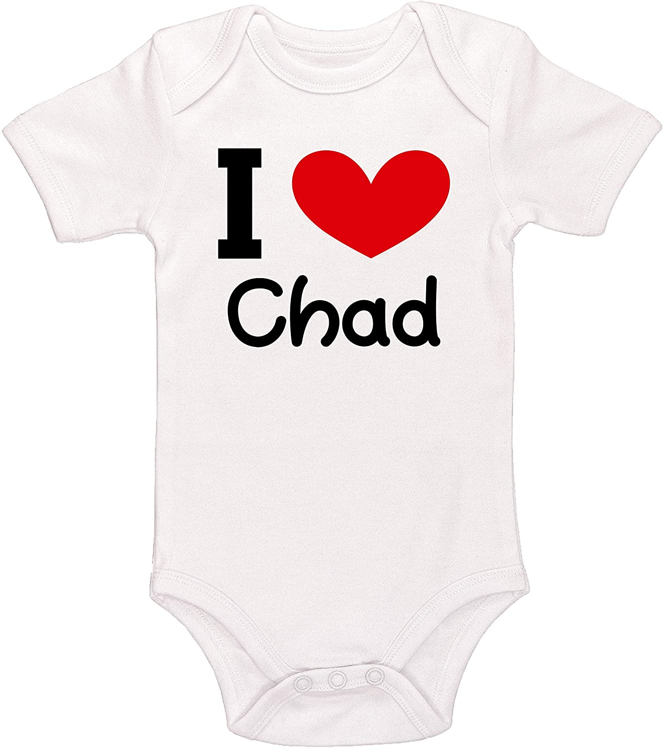 Kinacle I Love Chad Personalized Baby Bodysuit