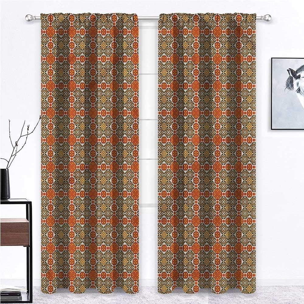 GugeABC Outdoor Curtains for Patio Waterproof Moroccan for Living/Bedroom Room Patio Door Vintage Oriental Tile 63 x 63 Inch (2 Panels)