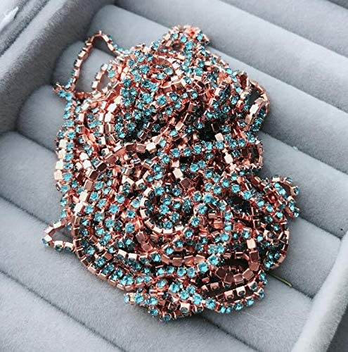 Juijnkt Fancy Rhinestone Cup Chain Rose Gold,DIY Colorful Decoration Trim,Close Chain 2Mm Crystal Accessories a12 Water Blue ss4 1.4mm 4.7yards