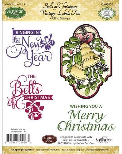Justrite Mini Cling Stamp Set, 3.5-Inch x 4-Inch, Bells of Christmas