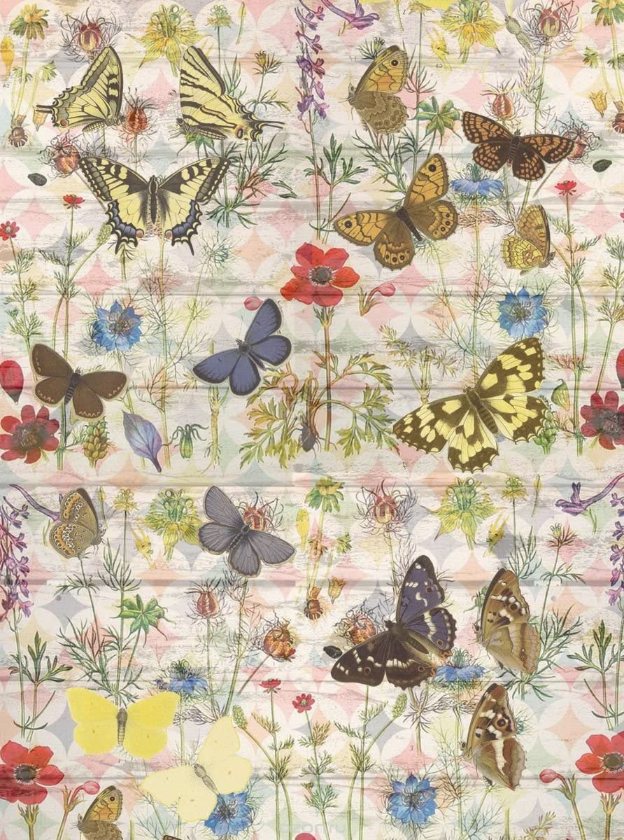 Rice Paper for decoupage. Summer Afternoon (Multicolored Butterflies). Made in Russia (~ 11,1 x 15,11 inches)