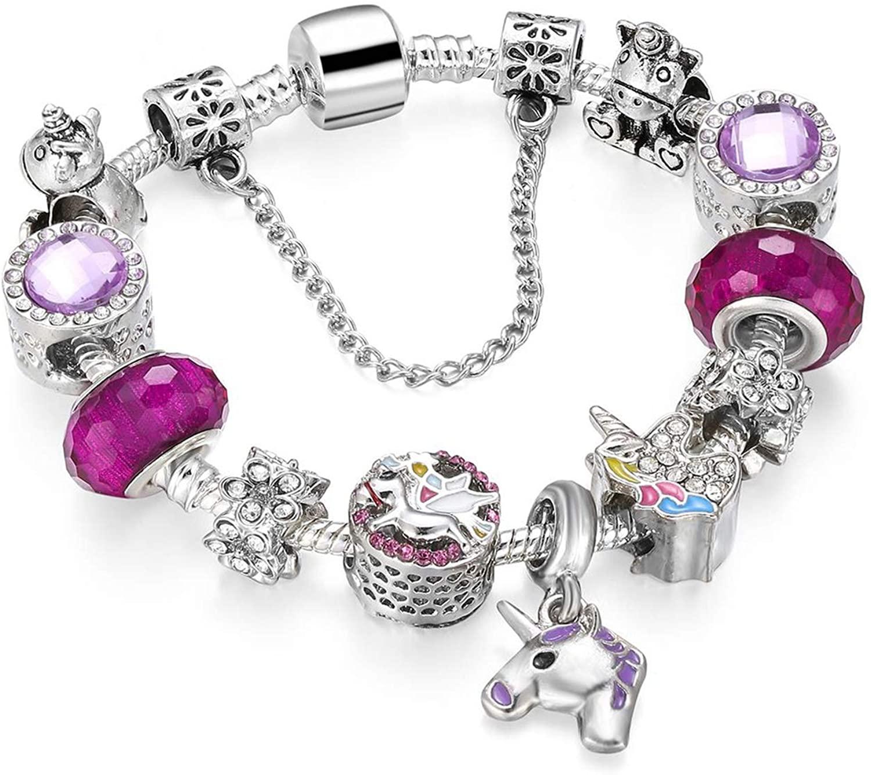 1pcs Blue Amulets Bracelet (Mother son) Glass Beads Flower Pendant Bracelets For Women Jewelry,Pure Gold Color,21cm