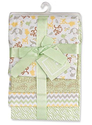 Regent Baby 4 Piece Crib Mates Receiving Blankets, Green