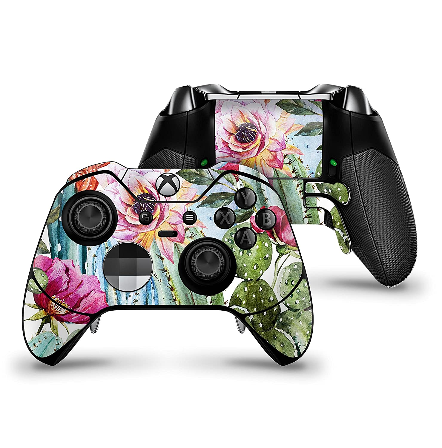 Vintage Watercolor Cactus Bloom - Protective Vinyl DesignSkinz Decal Sticker Skin-Kit for the Microsoft Xbox ONE Elite Controller