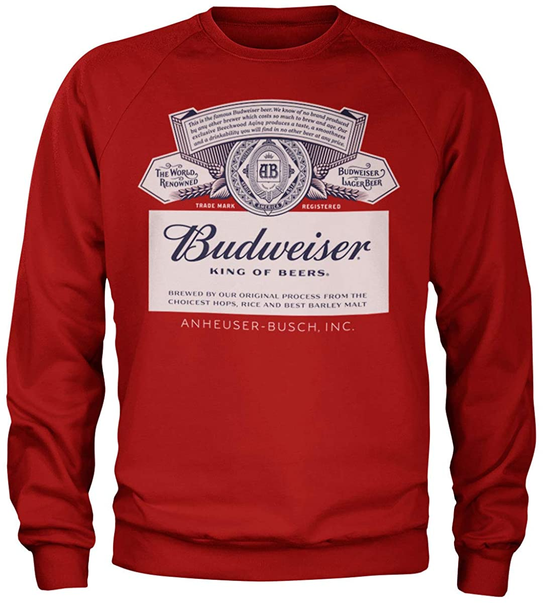 Budweiser Officially Licensed Label Sweatshirt (Red)