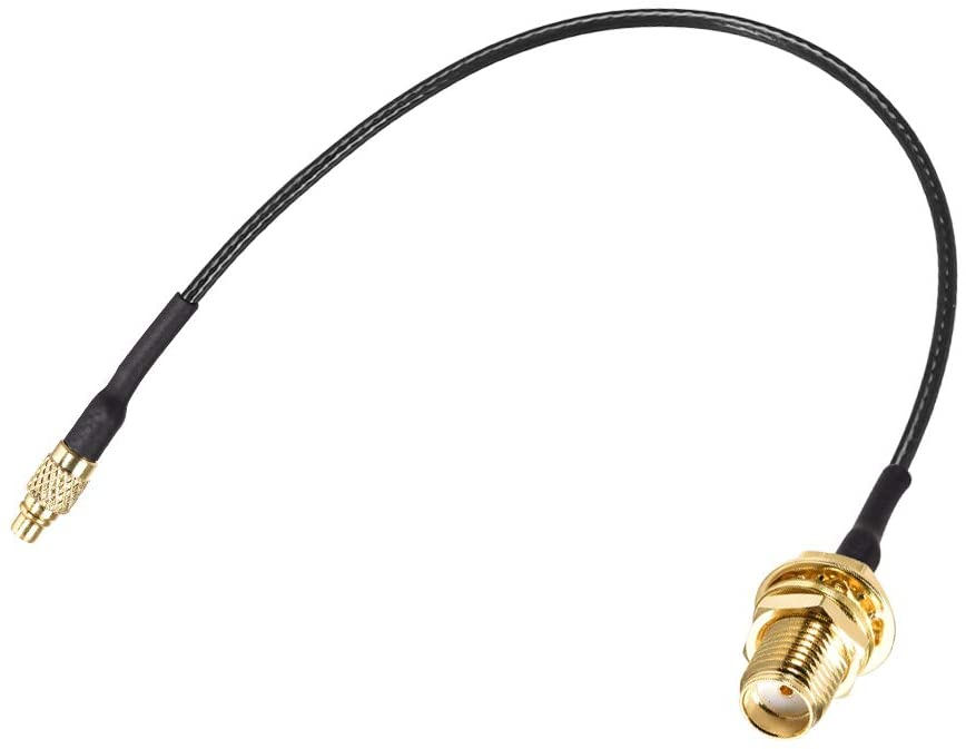 uxcell MMCX Male to SMA Female Bulkhead,Pigtail Antenna Coaxial RF1.37 Low Loss Cable,RF Coaxial Connector,6inch
