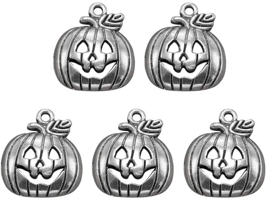 SUPVOX 100pcs Halloween Pumpkin Charms Antique Halloween Craft Supplies Pendants Fall Thanksgiving Pumpkin Pendants for DIY Craft Jewelry Making (Antique Silver)