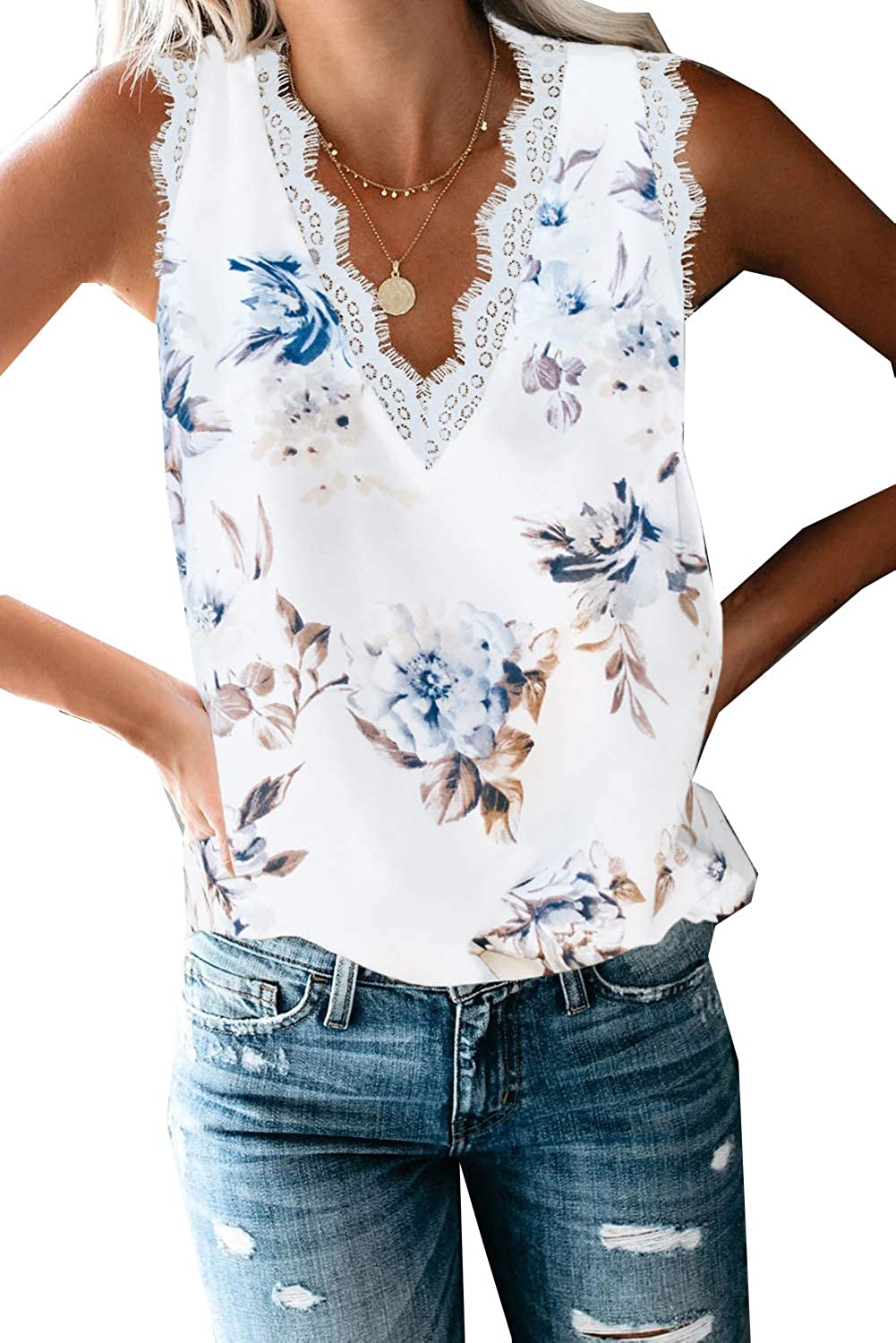 Women's V Neck Lace Trim Tank Tops Casual Loose Sleeveless Blouse Shirts