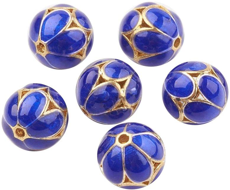 LiQunSweet 25 Pcs Handmade Brass Classical Enamel Flower Blue Golden Plated Loose Metal Cloisonne Beads Round Shape Carved Charm Beads Bulk for Jewellery Making Adults DIY Crafting - 9.5mm