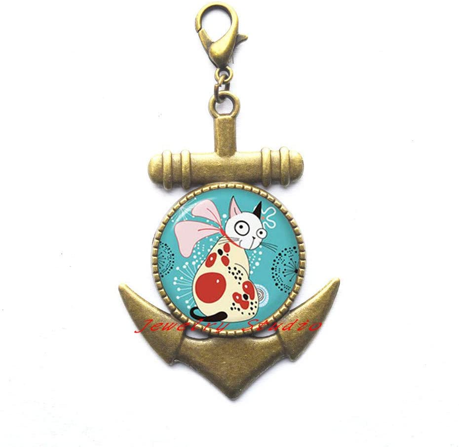 Cat Lobster Clasp Tan and White Cat with Red Spots and Scarf Picture Lobster Clasp Anchor Zipper Pull Photo Jewelry Womens Anchor Zipper Pull Cat Jewelry-HZ0141