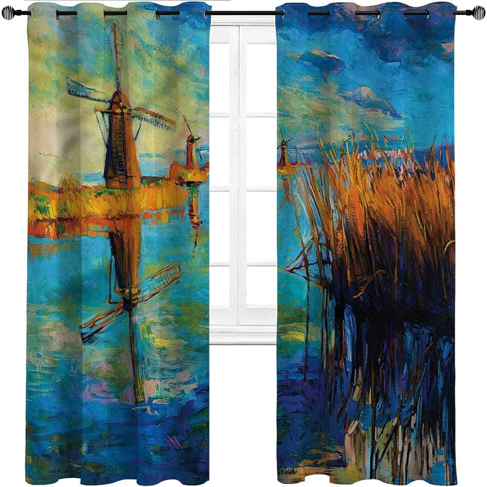 GugeABC Outdoor Curtains for Patio Waterproof Country Window Drape for Home Windows Balcony Kitchen Oil Painting Style Winter,Set of 2 Panels, 108 Widthx 96 Length