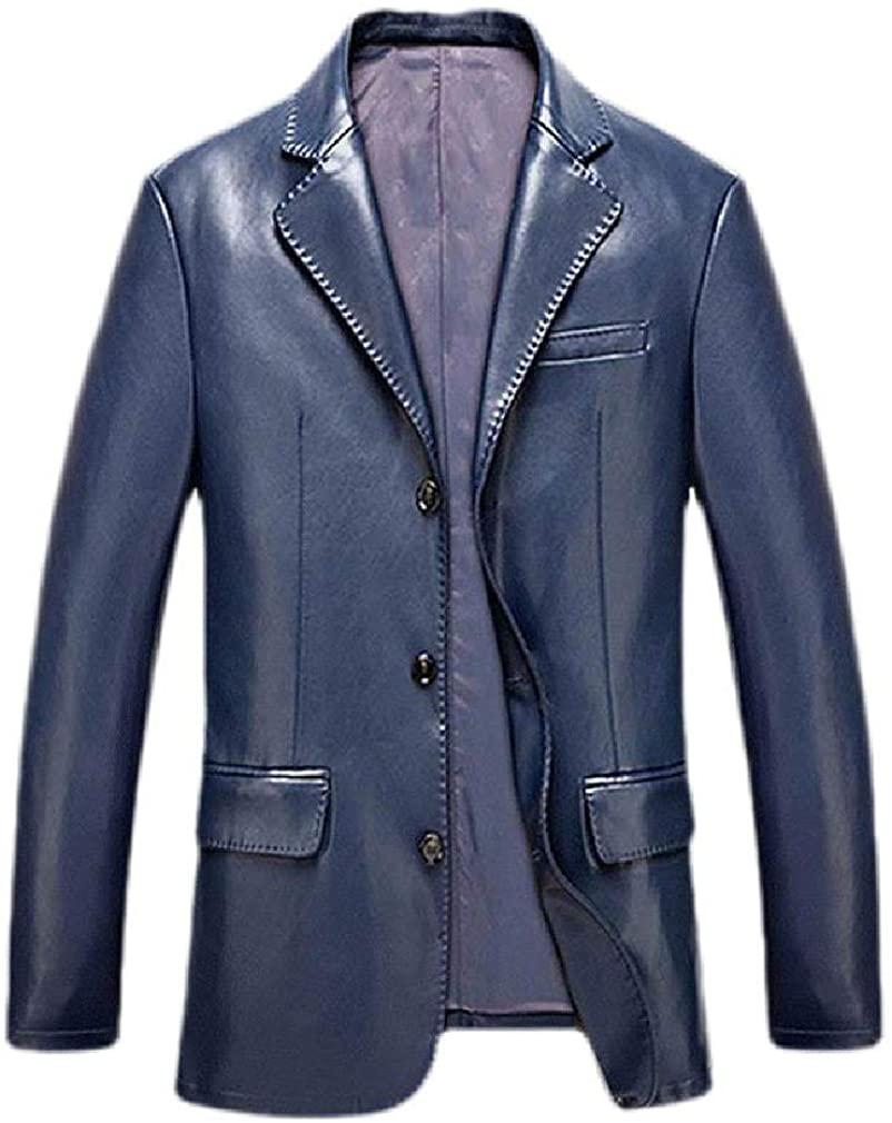 MOUTEN Men Business Casual Pu Leather Autumn Blazer Suit Coat Jacket Coat Outerwear