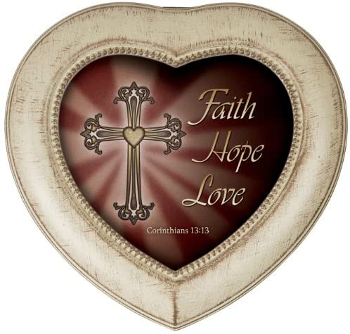 Carson Home Accents 17885 Faith Hope Love Heart Shaped Music Box, 5-1/2-Inch by 5-1/4-Inch by 2-1/2-Inch