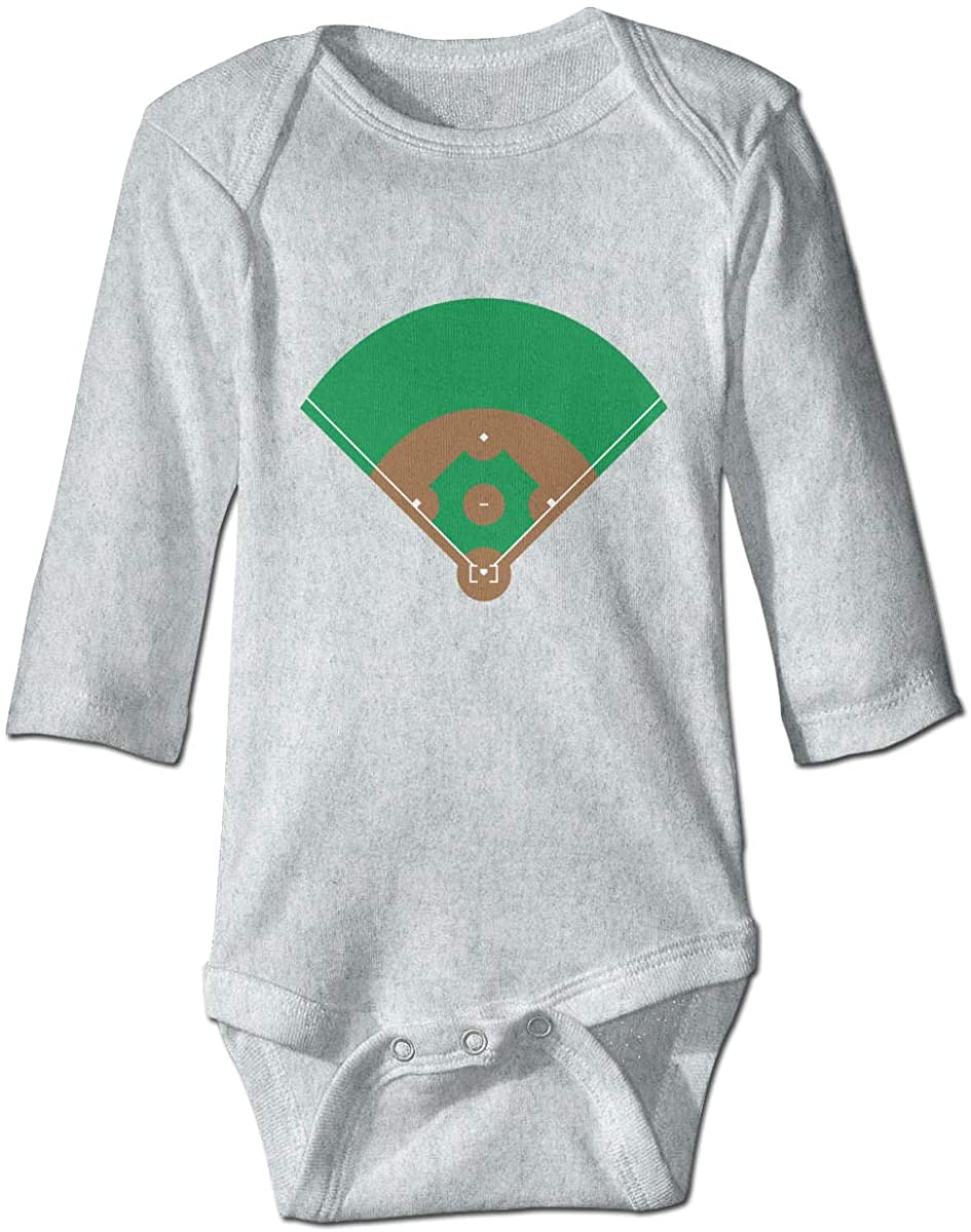 Top View of A Baseball Pitch Unisex Baby Bodysuit Infant Cotton Outfits Long Sleeve Jumpsuit