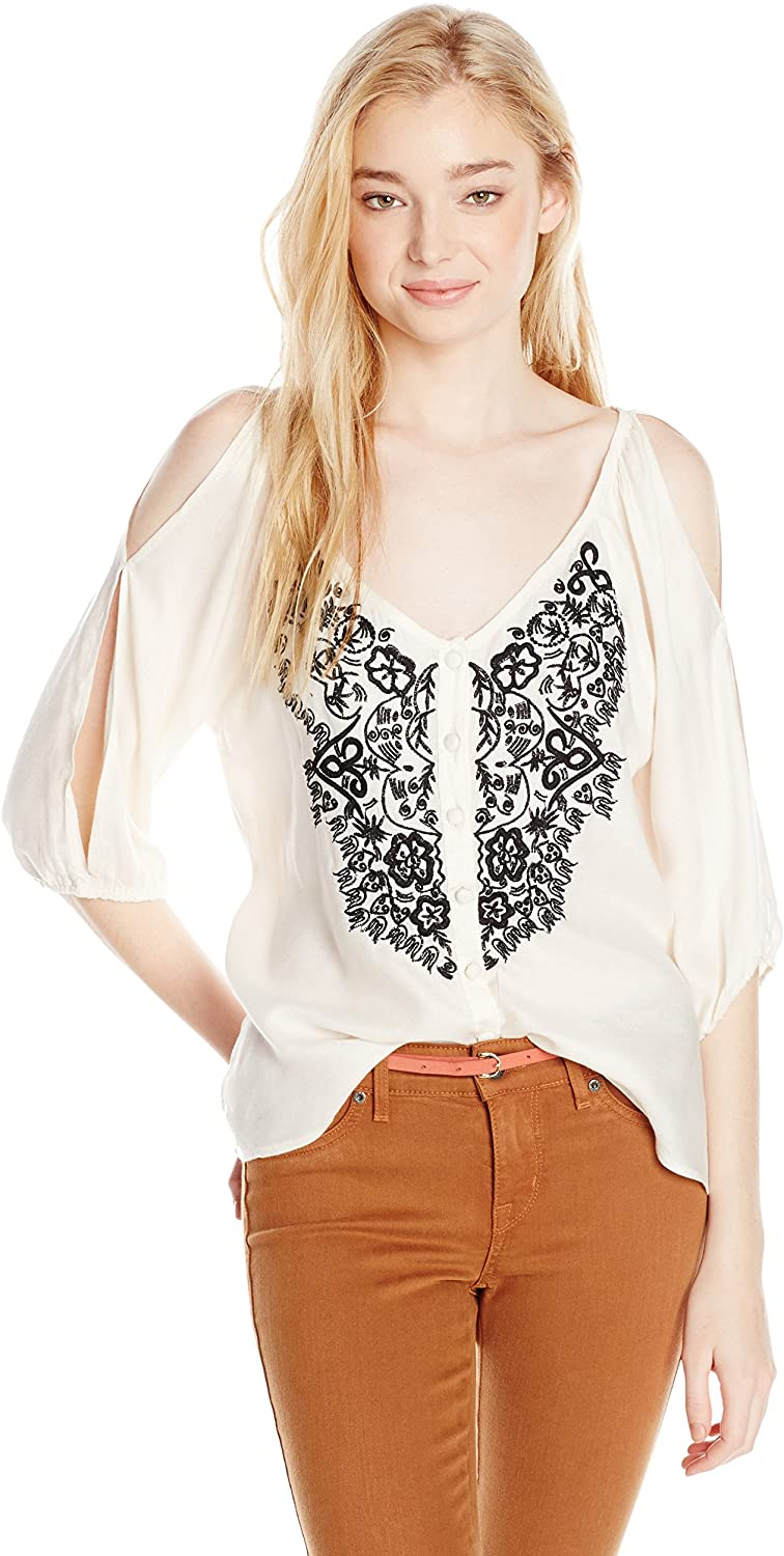 Angie Juniors Embroidered Top with Side Slit Sleeve