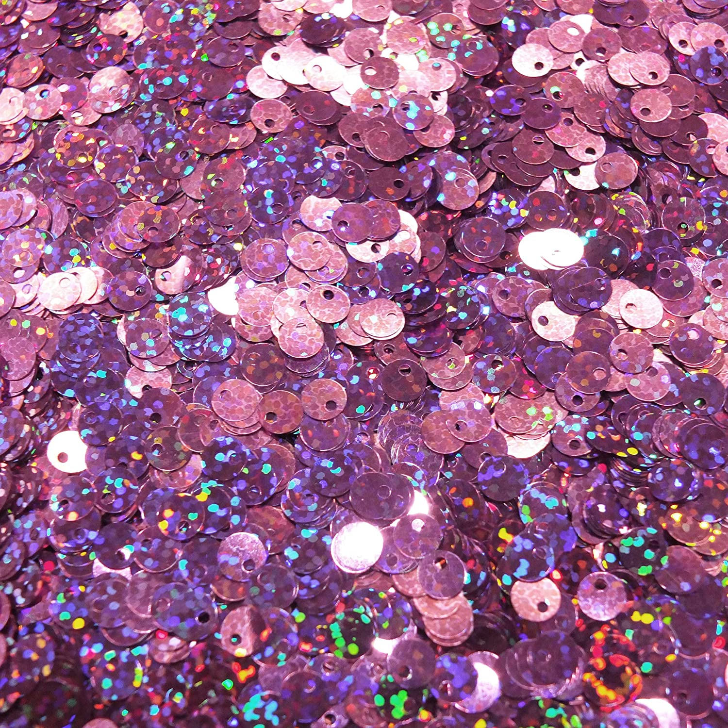 6mm Sequins Round Orchid Pink Hologram Glitter Sparkle Metallic Medium Top Hole Made in USA