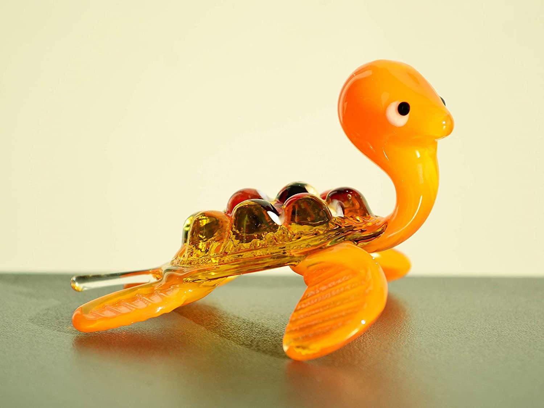 Orange Glass Turtle Figurine Animals Glass Turtles Sculpture Art Glass Toy Murano Turtle Blown Orange Animal Sea Turtle Animals Figures