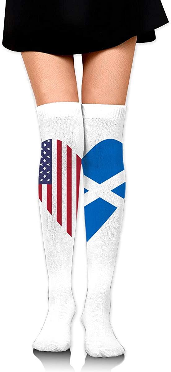 Knee High Socks Scotland Flag Half USA Flag Women's Athletic Over Thigh Long Stockings