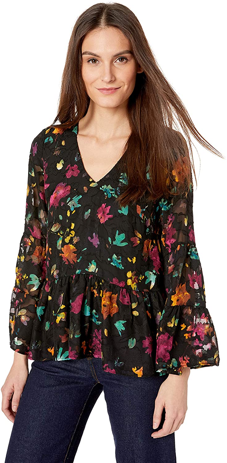 ECI New York Women's Floral Burnout V-Neck Blouse with Flutter Sleeve and Hem