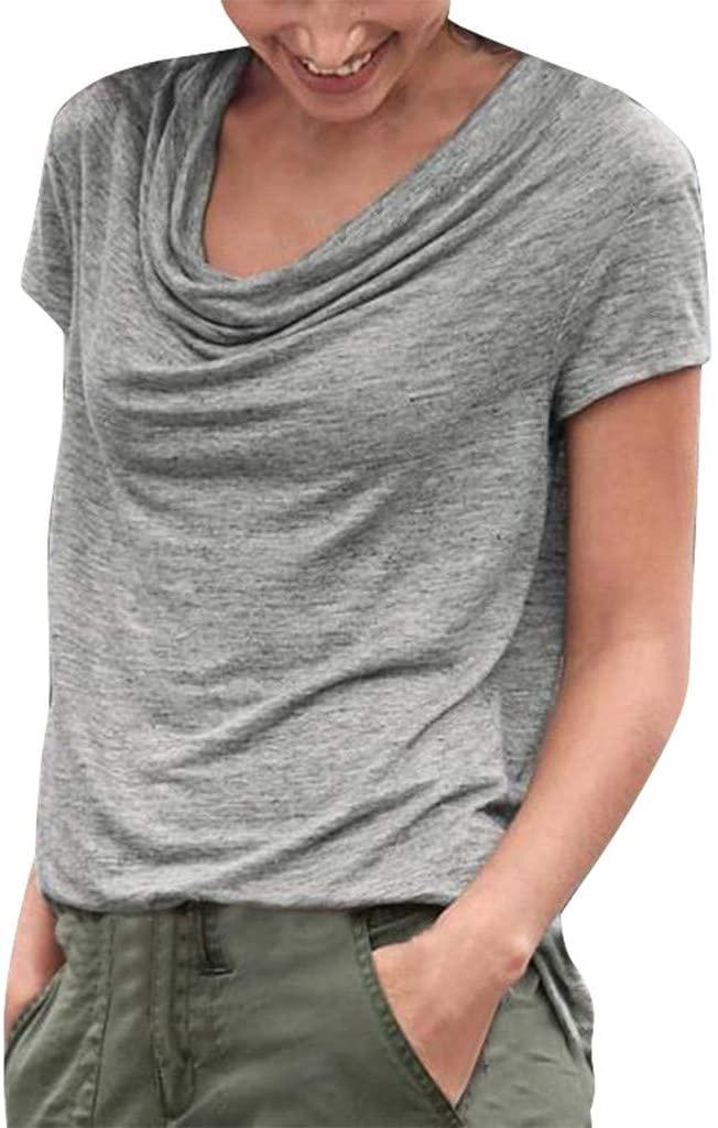 Women Casual T Shirts Round Neck Short Sleeve Shirts Summer Blouse Tronet Summer Tops for Women