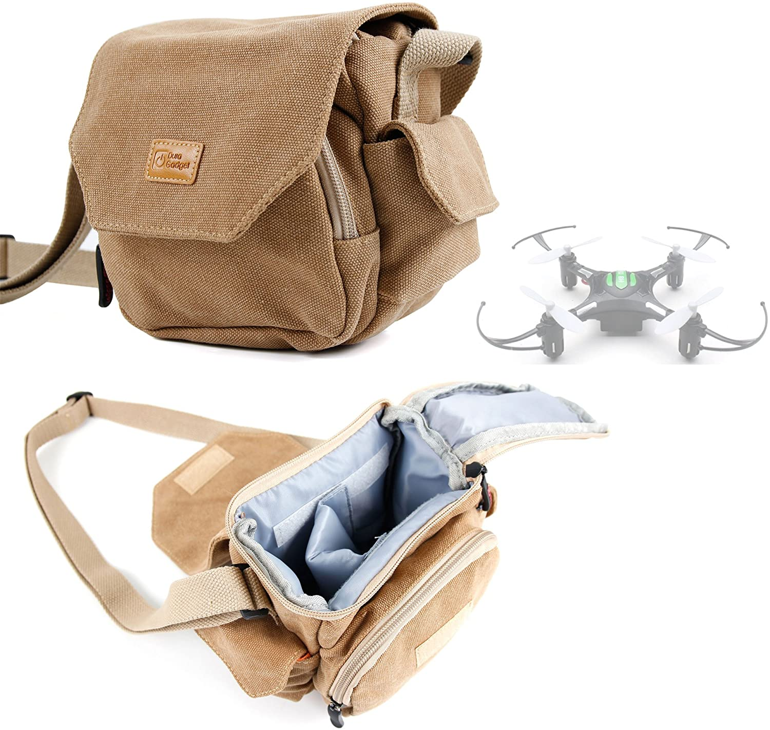 DURAGADGET Light Brown Medium Sized Canvas Carry Bag - Compatible with Eachine H8 Mini Quadcopter - with Multiple Pockets & Customizable Interior Compartment