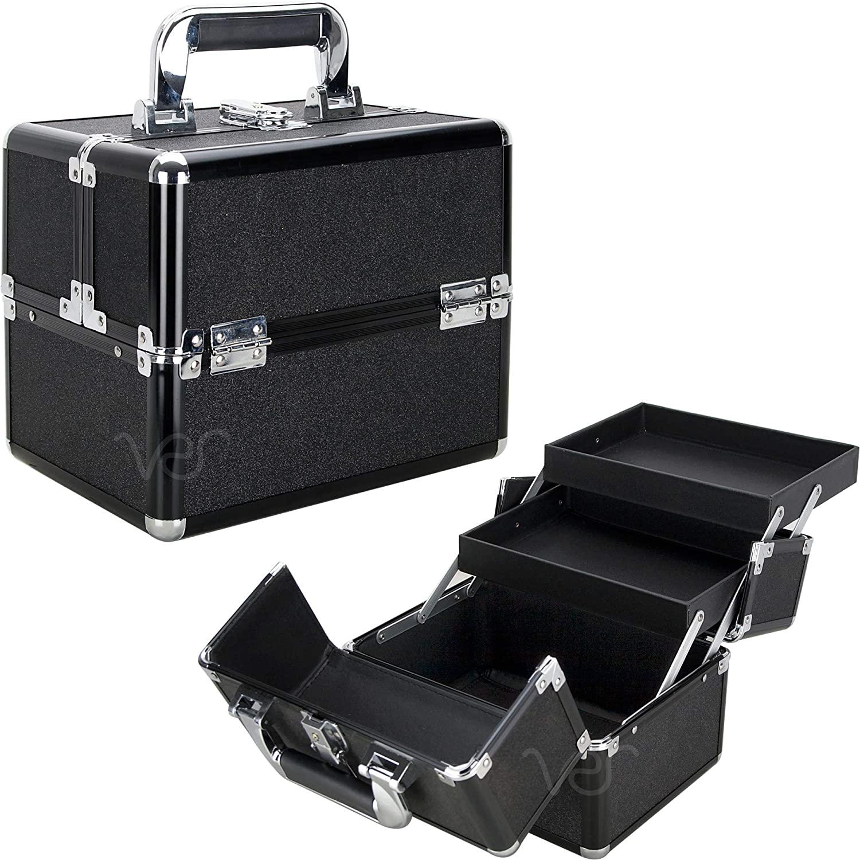 Ver Beauty 2-Tiers Extendable Trays Art Craft Supplies Storage Portable Box Tool Case Organizer Travel – VK002, Black Glitter