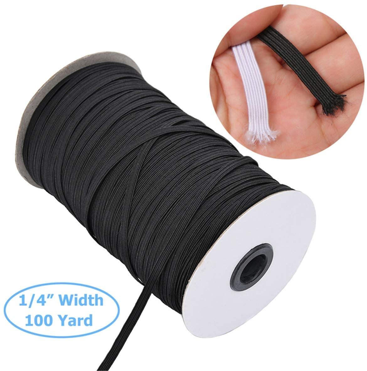 100 Yard 1/4 Inch (6mm) Black Elastic String Cord Elastic Rope Braided Stretch Strap Cord Roll Elastic Spool Elastic String Heavy Stretch High Elasticity Knit for Sewing Crafts DIY Bedspread Cuff