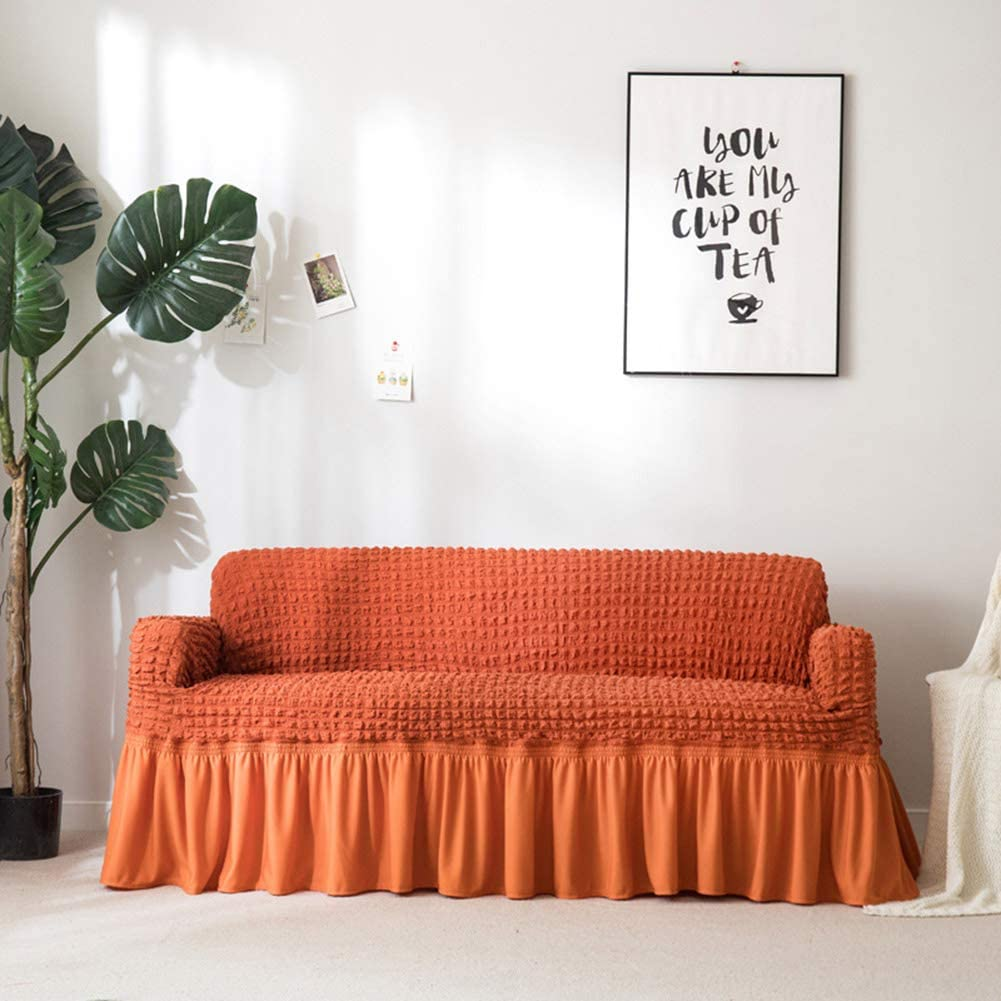 Stretch All-Including Couch Cover,Elastic Soft Anti-Slip Durable Sofa Slipcover European Style Skirt Furniture Protector Orange S