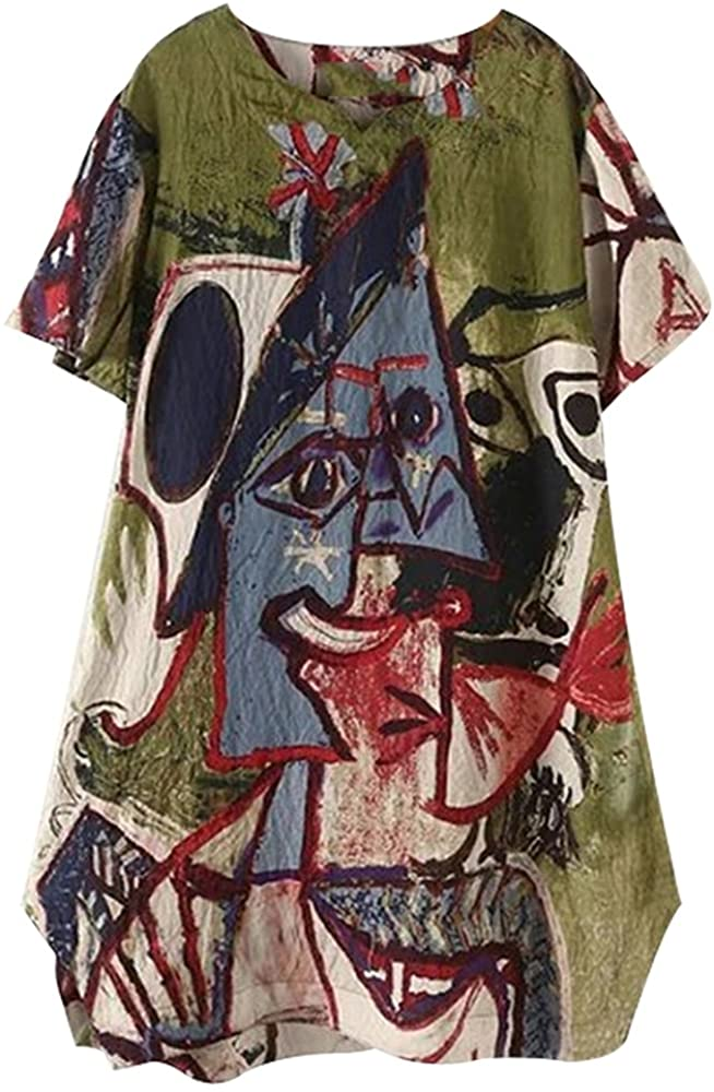 Womens Abstract Printing Casual Pull On Blouse Shirt Baggy Dress with Pockets Oversized Tops