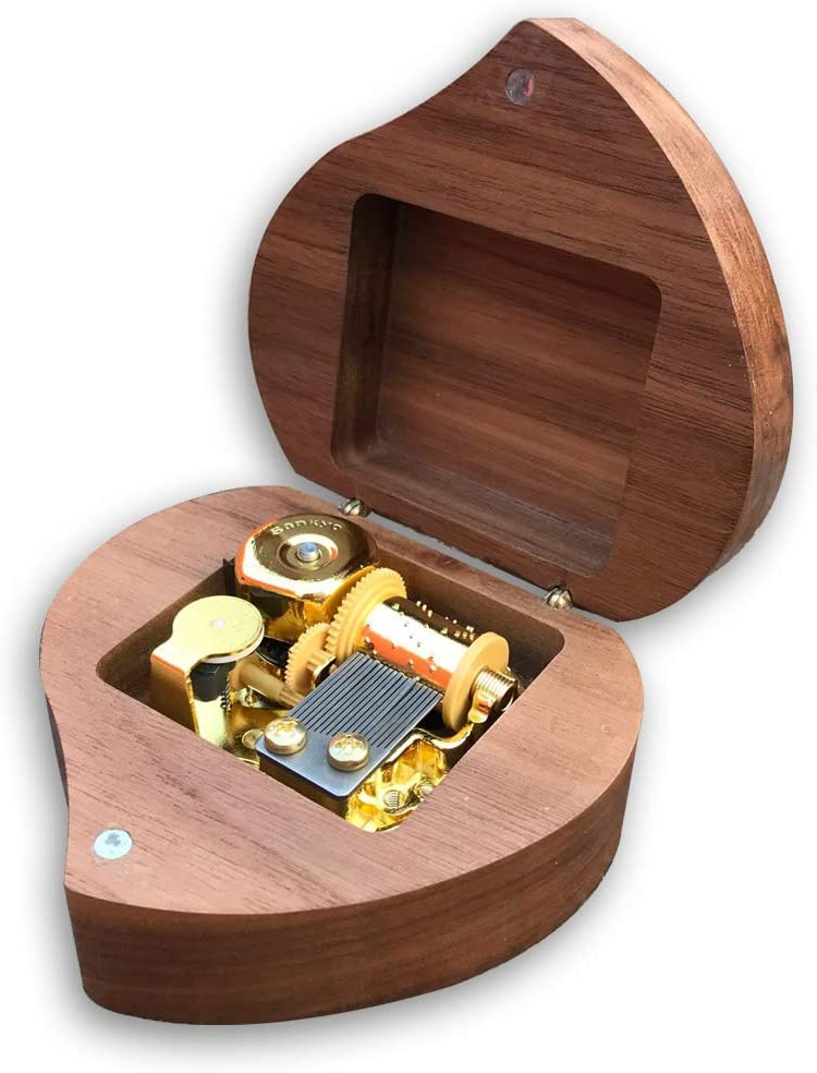 Play (Silent Night) Deep Brown Wooden Heart Shape Music Box with Sankyo Musical Movement