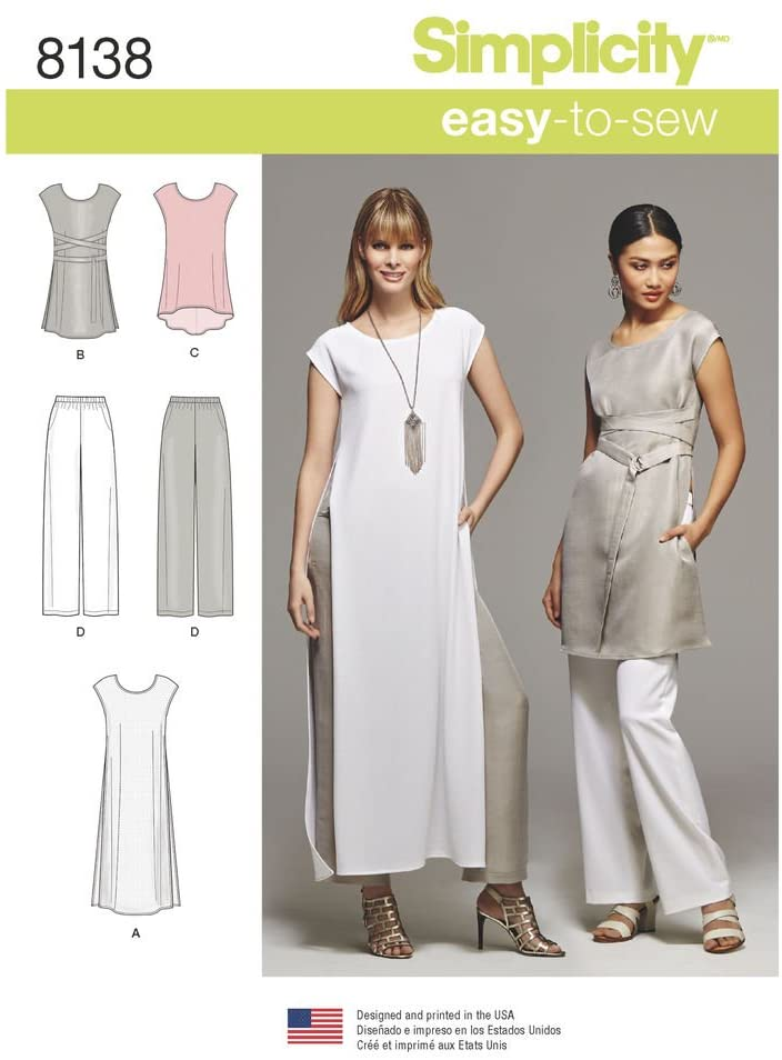 Simplicity Creative Sewing Pattern S0683 / 8138 Misses' Easy-to-Sew Tunics and Pull-on Pants, H5 (6-8-10-12-14)