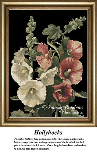 Sunrays Creations The Black Collection Cross Stitch Patterns | Hollyhocks (Pattern Only, You Provide The Floss and Fabric)