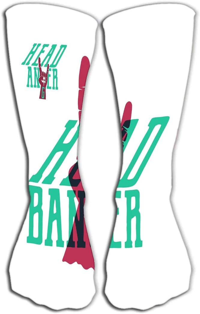 YILINGER Print Knee High Socks 19.7(50cm) Athletic Over-The-Calf Tube Vintage Hand Drawn Rock n roll Poster Music Print Design Musical Hand Sign Typography Vintage Hand