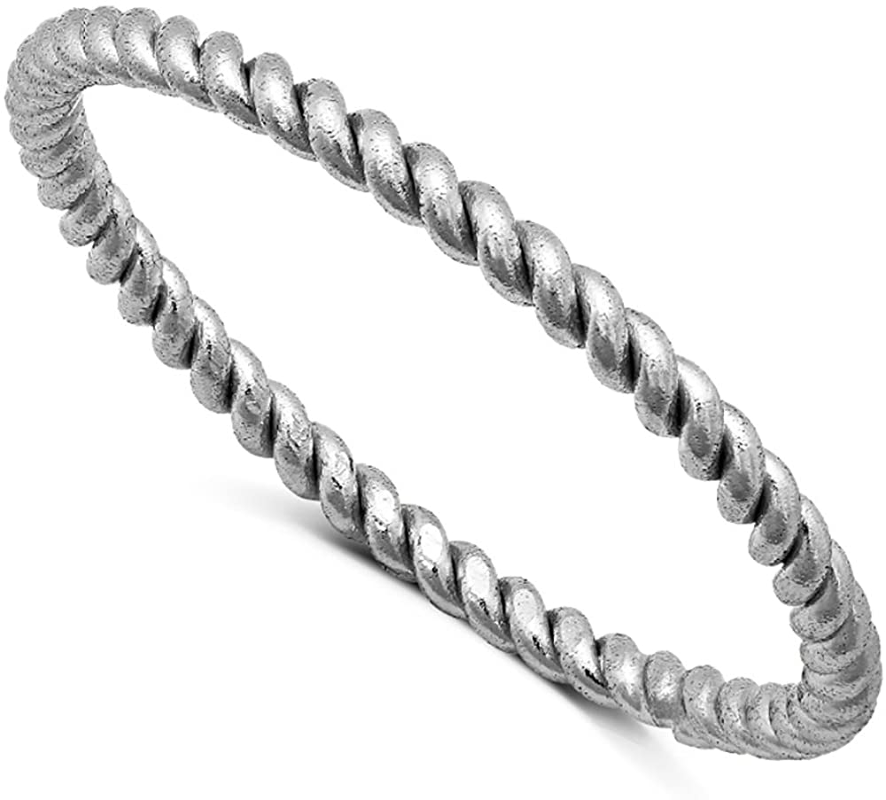 DTLA Sterling Silver Stackable Twisted Rope Band Ring - Oxidized (4)
