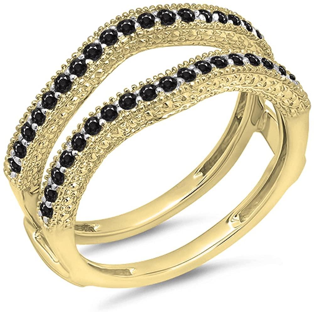 0.45 Carat (ctw) 14K Gold Round Black Diamond Wedding Band Millgrain Guard Double Ring 1/2 CT