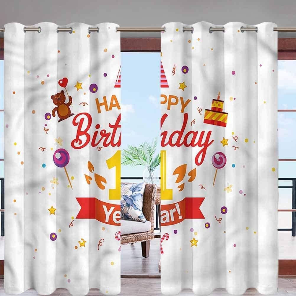 MDOUWoo Summer Heat UV Shade Blind Blackout Curtains Party with Cones Bear W96 x L108 Grommet Curtain Panels for Porch Balcony Pergola Patio