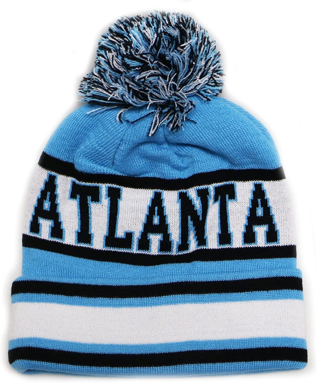 City Hunter Sk1130 Atlanta Stripes Pom Pom Beanie Hats - Teal/black