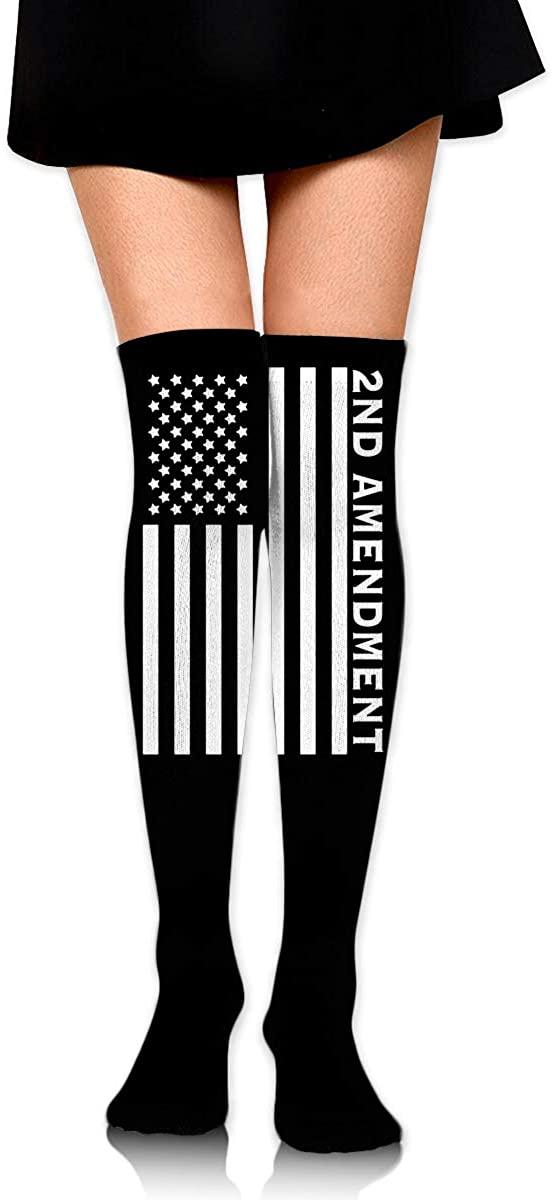 Knee High Socks 2nd Amendment American Flag Womens Athletic Over Thigh Long Stockings