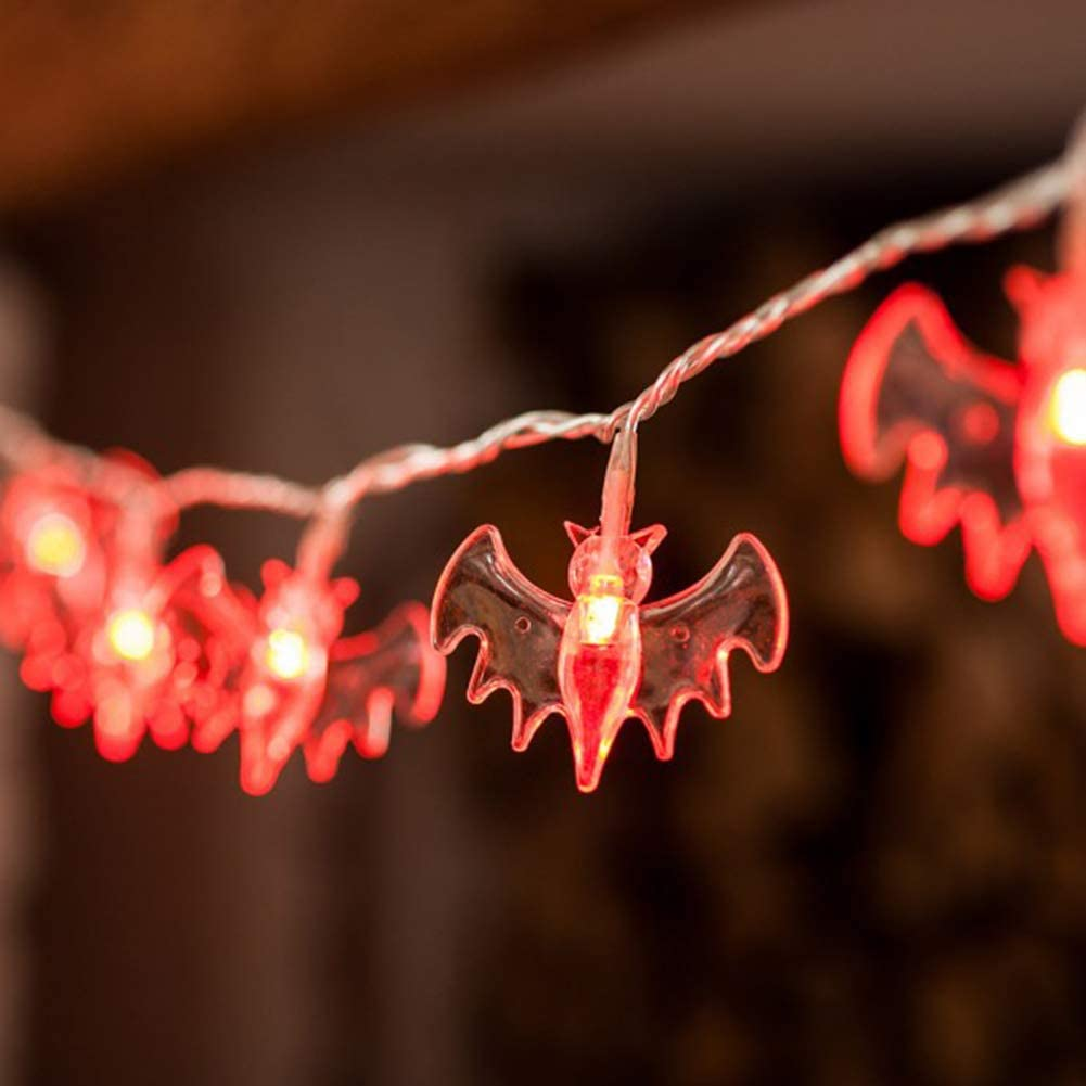 Taykoo Battery Operated LED Fairy String Lights 10 Blue/Red/Purple Bat Lights Halloween Decoration Lights (Red)