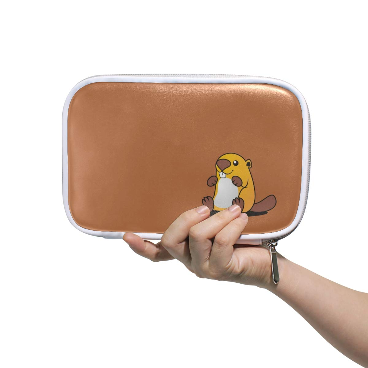 ILEEY Beaver Wallpaper Orange Cute Funny Pencil Case Cosmetic Bag Large Capacity Organizer Makeup Clutch Pouch for Travel School