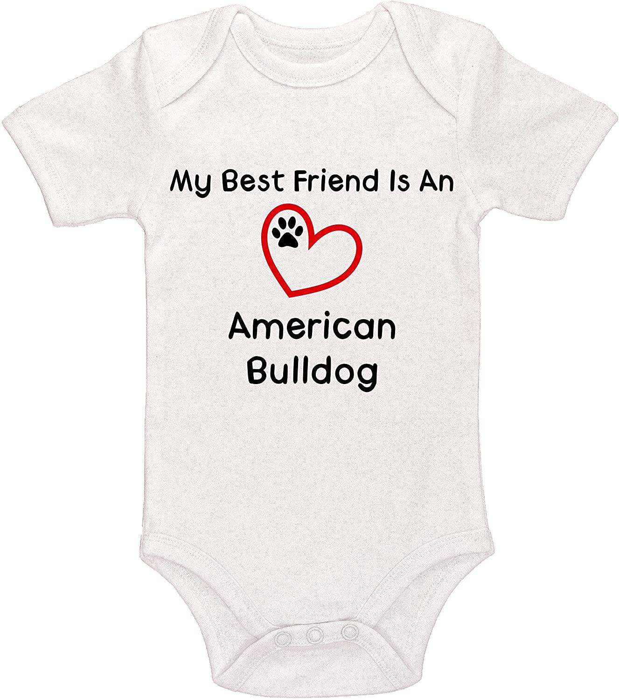 VinMea Baby Onesie My Best Friend is A American Bulldog Baby Bodysuit Funny Newborn Onesie Bodysuit in 5 Sizes - S
