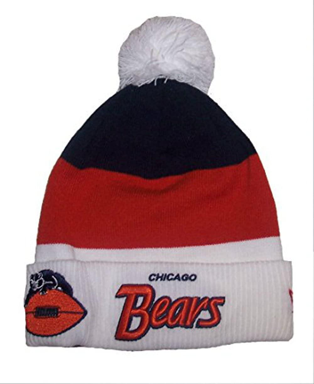 Genuine Merchandise Chicago Bears New Era Gridiron Knit Cuff Scriptor Beanie w/Pom Tri Tone Hat Cap