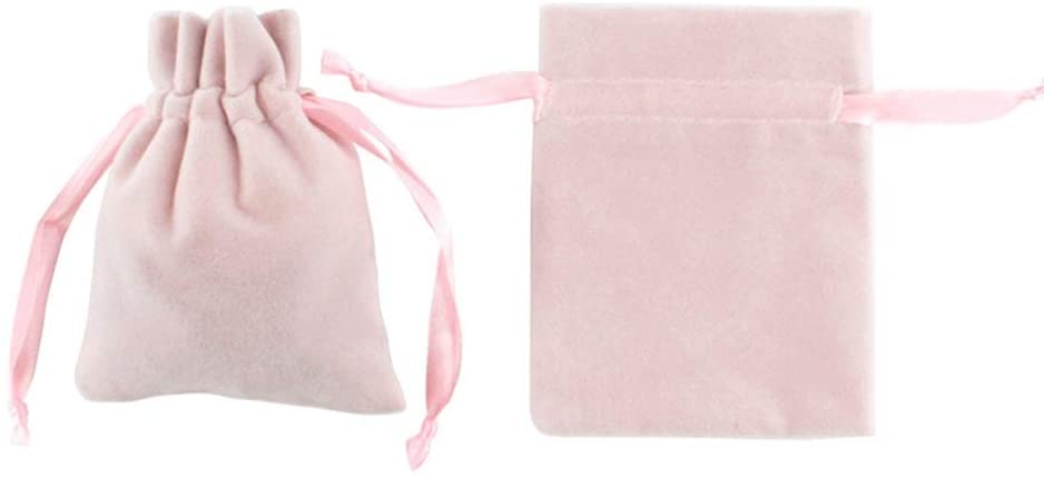 Xinneng Gift Bags - 30 Pieces Velvet Fabric Drawstring Gift Bags Christmas Candy Jewelry Party Wedding Favor Pouches Chic Pink Color, 810CM Delicate