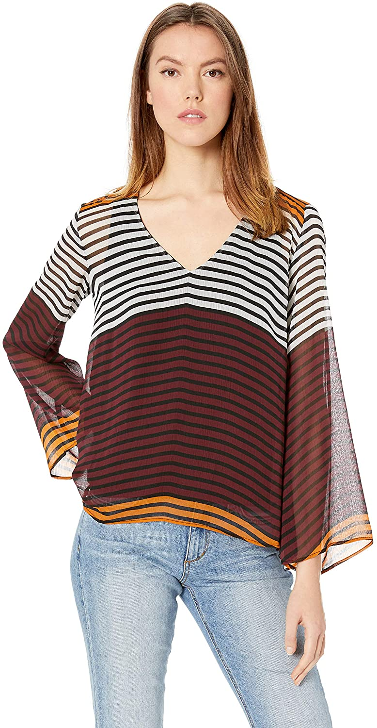 ECI New York Women's Striped Color Blocked Long Sleeves Blouse