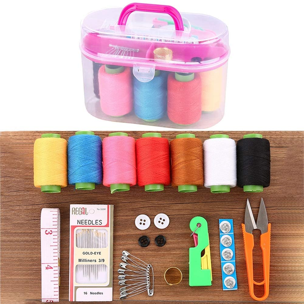 CXKS Sewing KIT, Double-Layer Sewing Supplies for Needles, Scissors, Measuring Tape, Thread and Other Sewing Tools DIY Sewing Tools, for Household, Travel